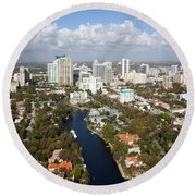 New River And Downtown Fort Lauderdale Round Beach Towel