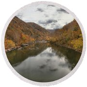 New River Fall Reflections Round Beach Towel