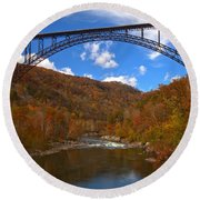 New River Gorge Fiery Fall Colors Round Beach Towel