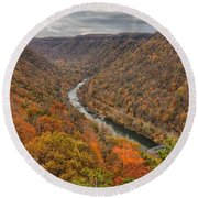 New River Gorge Overlook Fall Foliage Round Beach Towel