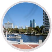 New River In Fort Lauderdale Round Beach Towel