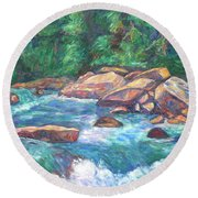 New River Fast Water Round Beach Towel