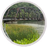 New River Scene 14 B Round Beach Towel
