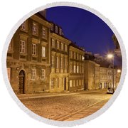 New Town Street And Houses At Night In Warsaw Round Beach Towel
