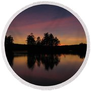 Summer Sunset In Nh Round Beach Towel