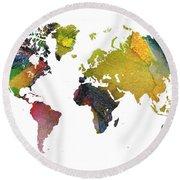 New World Map Round Beach Towel