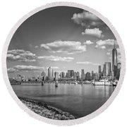 New World Trade Center Bw Round Beach Towel