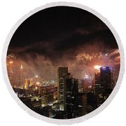 New Year Fireworks Round Beach Towel by Ray Warren