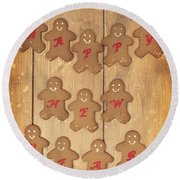 New Year Gingerbread Round Beach Towel