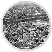 New York 1937 Aerial View  Round Beach Towel
