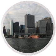 New York And Staaten Island Ferry Round Beach Towel