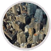 New  York Architecture Round Beach Towel