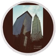 New York Architecture Old And New Round Beach Towel