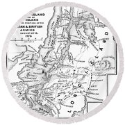 New York: Armies, 1776 Round Beach Towel