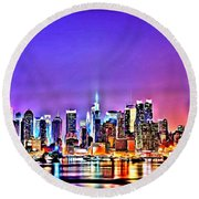 New York At Night Round Beach Towel