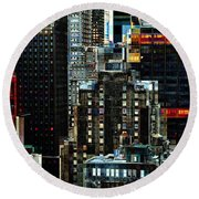 New York At Night - Skyscrapers And Office Windows Round Beach Towel