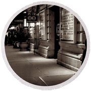 New York At Night - The Phone Call - Theatre District Round Beach Towel