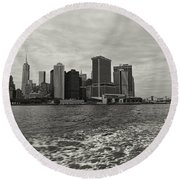 New York Battery Park View Round Beach Towel
