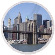 New York Bridge 3 Round Beach Towel