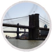 New York Bridge 5 Round Beach Towel