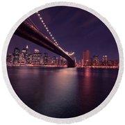 New York Brooklyn Bridge At Night Round Beach Towel