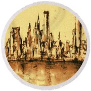 New York City Skyline 79 - Water Color Panorama Round Beach Towel