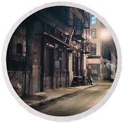 New York City Alley At Night Round Beach Towel