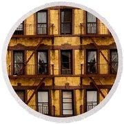 New York City Apartment Building Study Round Beach Towel