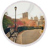 New York City - Autumn - Brooklyn Bridge And Foliage Round Beach Towel