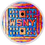 New York City Autumn Street Detail Pop Painting Round Beach Towel
