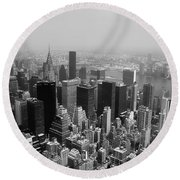 New York City Black And White Round Beach Towel