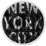 New York City - Black Round Beach Towel