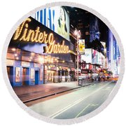 New York City - Broadway Lights And Times Square Round Beach Towel