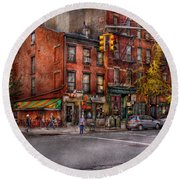 New York - City - Corner Of One Way And This Way Round Beach Towel by Mike Savad