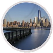 New York City Financial District Round Beach Towel