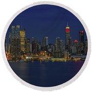 New York City Lights Round Beach Towel