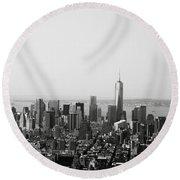 New York City Round Beach Towel by Linda Woods