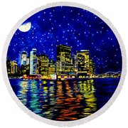 New York City Lower Manhattan Round Beach Towel