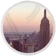 New York City - Manhattan Panorama Round Beach Towel