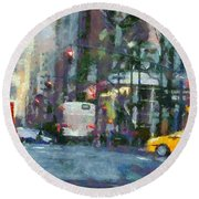 New York City Morning In The Street Round Beach Towel