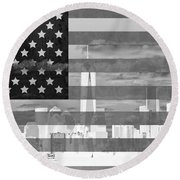 New York City On American Flag Black And White Round Beach Towel