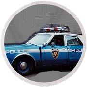 Vintage New York City Police Car 1980s Round Beach Towel