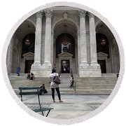 New York City Public Library Round Beach Towel