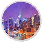 New York City - Skyline 0 Round Beach Towel