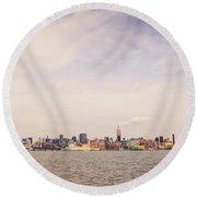 New York City Skyline And The Hudson River Round Beach Towel