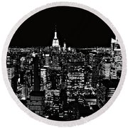 New York City Skyline At Night Round Beach Towel