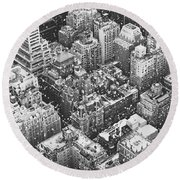 New York City - Skyline In The Snow Round Beach Towel by Vivienne Gucwa