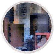 New York City Skyline No. 3 - City Blocks Series Round Beach Towel