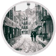 New York City - Snow On A Winter Afternoon - Chinatown Round Beach Towel by Vivienne Gucwa