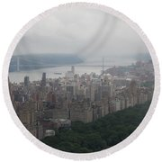 New York City Syline Draped In Clouds Round Beach Towel